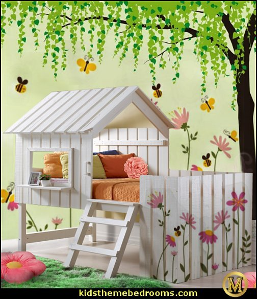 tree house loft  bed country cottage house loft bed  garden bedroom decorating ideas - decorating butterfly garden themed bedrooms - garden theme decor - floral bedding - flower theme bedding - flower wall decals - garden themed wall murals - ladybug bedroom ideas - garden wallpaper murals - flower wall decals - cottage garden theme bedroom furniture - house theme bed -