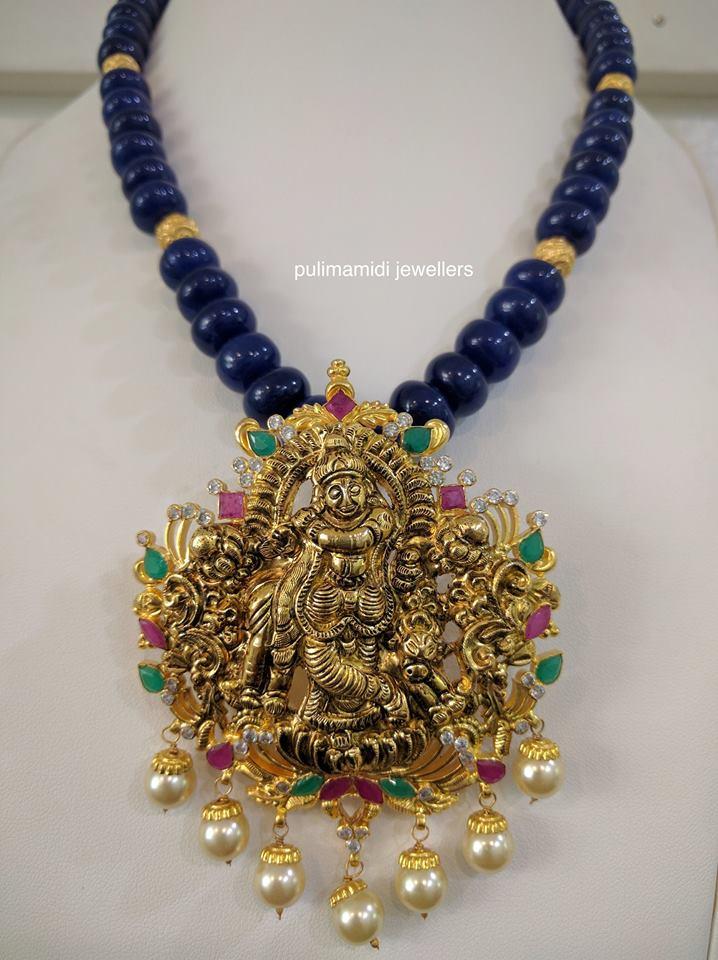 Blue Beads Set with Krishna Locket