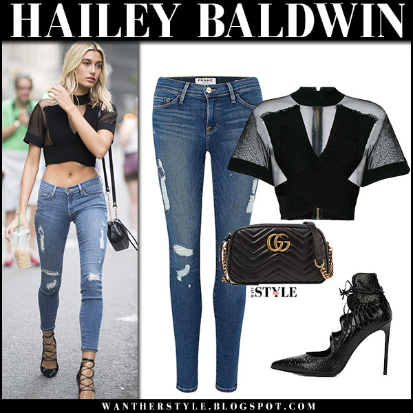 Hailey Baldwin in sheer black crop top balmain and skinny jeans frame denim celebrities in denim august 2017