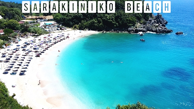 Travel video of Sarakiniko beach in Parga.Sarakiniko plaza u Pargi video snimak.