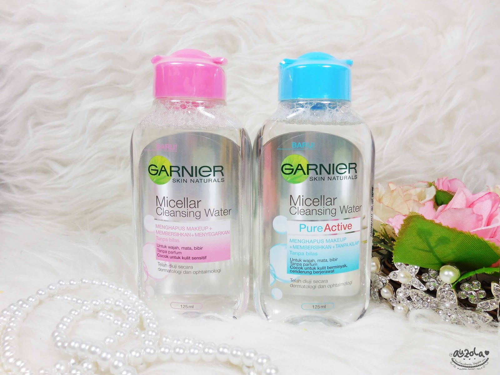 Rainbowdorable By Auzola Indonesian Beauty Blogger Review Garnier Micellar Cleansing Water 125ml Just Normal Clear With A Hint Of Pink Or Blue For Each Variant Its The Small Version So Easy To Bring Anywhere As It Doesnt