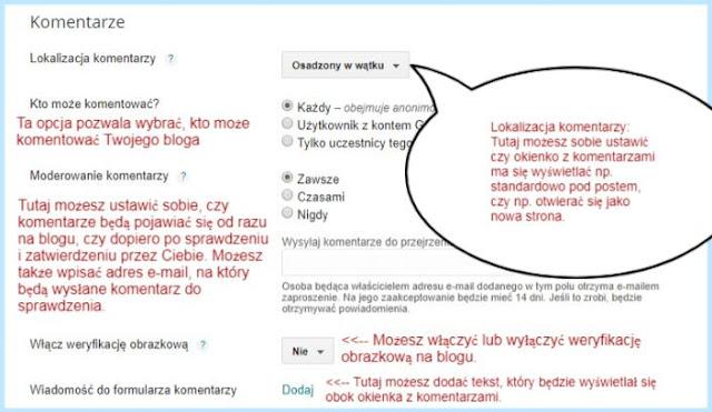 Ustawienie komentarzy na Bloggerze.