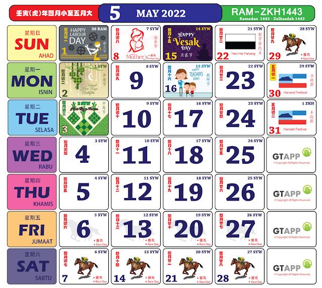 Kalender Mei 2022