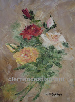 Gerbe de fleurs, roses blanches, rouges et jaunes - huile 8 x 6 par Clémence St-Laurent