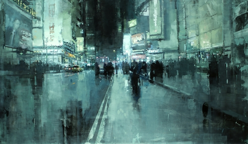 01-7th-Ave-Night-Jeremy-Mann-Figurative-Painting-in-Cityscapes-Oil-Paintings-www-designstack-co