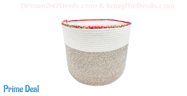 "60% OFF Large Cotton Rope Storage Basket 16""x 16""x 14"" Laundry Hamper -Baby Laundry Basket Woven Blanket Basket Nursery Bin Hamper"