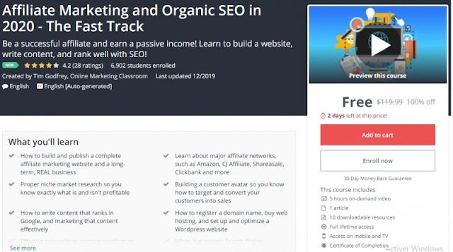 [100% Off] Affiliate Marketing and Organic SEO in 2020 - The Fast Track  Worth 119,99$