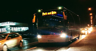 Park and Ride bus on Parkmore Road at night