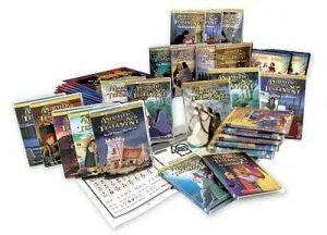 layout of 24 animated Bible stories DVD's on white background.