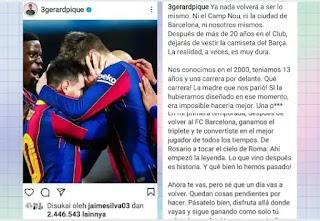 Ucapan Perpisahan Gerard Pique untuk Lionel Messi