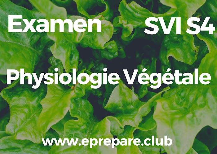 Examens Corrigés de Physiologie Végétale SVI Semestre S4 PDF