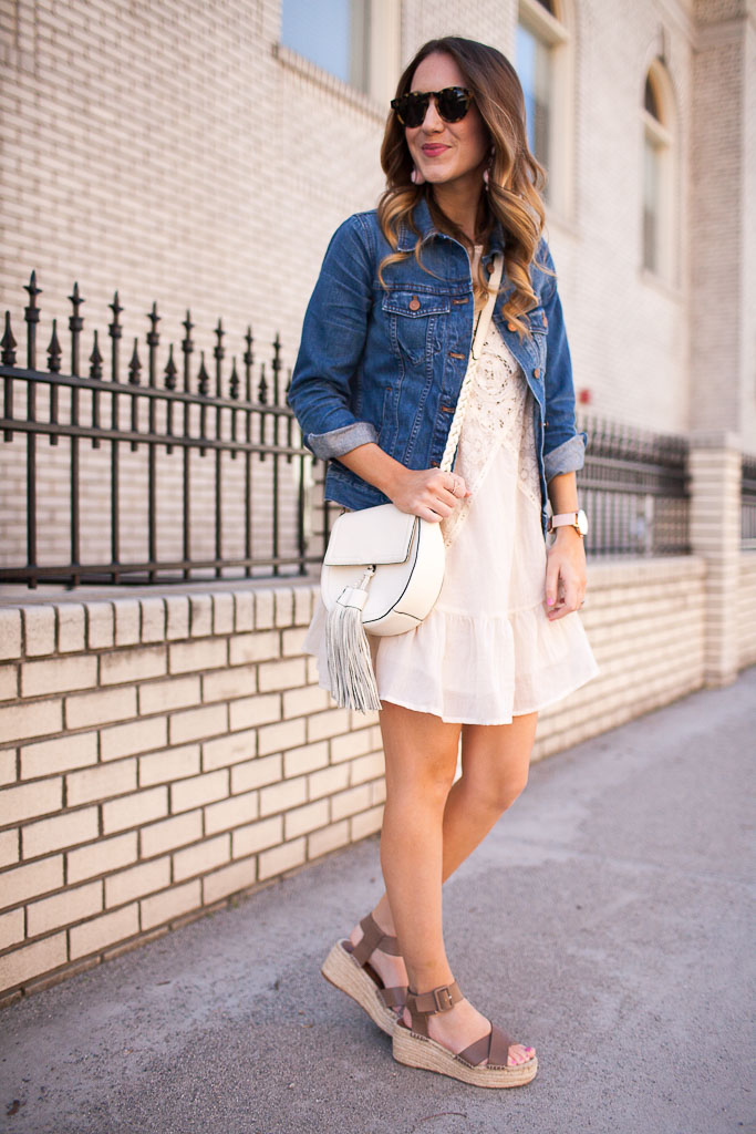 A ruffle hem dress with crochet detailing that is perfect for spring!