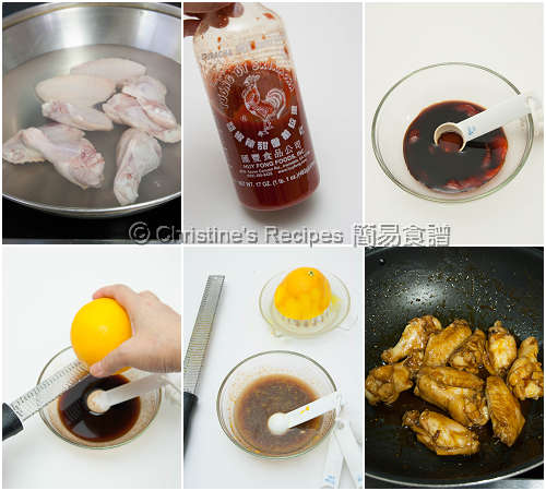 橙蜜是拉差雞翼製作圖 Honey Sriracha Chicken Wings Procedures
