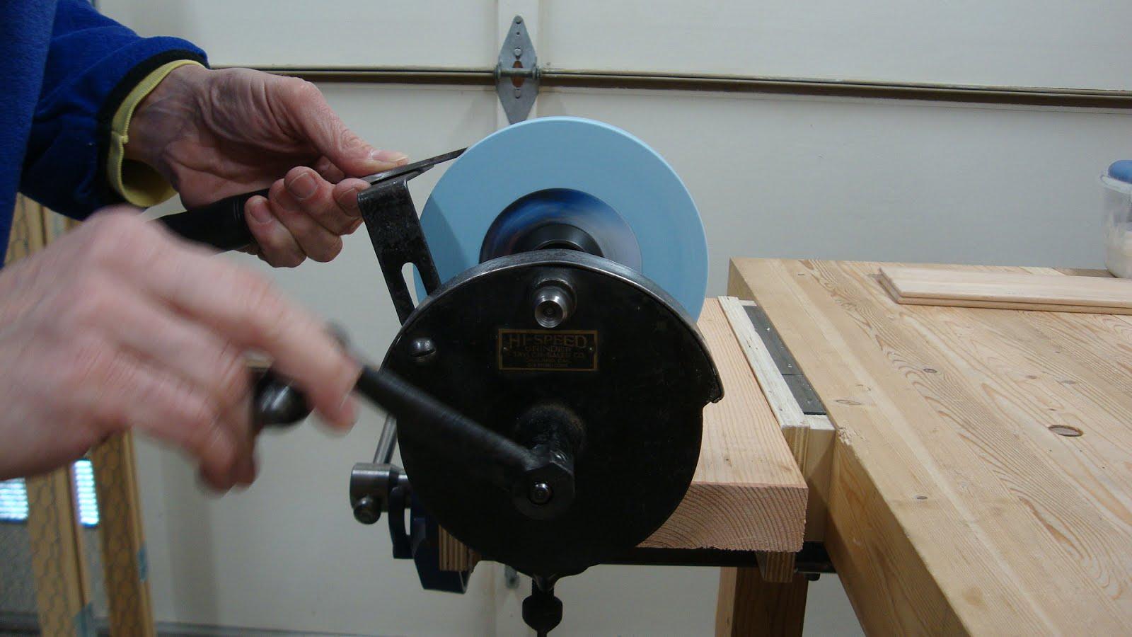 Woodworking In A Tiny Shop More On The Hand Crank Grinder
