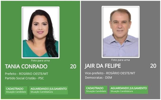 """Tânia Conrado e Jair da Felipe são os primeiros a registrar candidaturas em Rosário Oeste e vão disputar as eleições pela Coligação """"Ação, Amor e Progresso"""""""