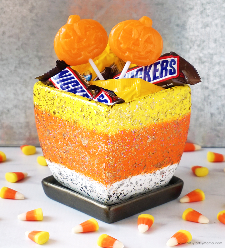 Halloween Candy Corn Bowl with Treats