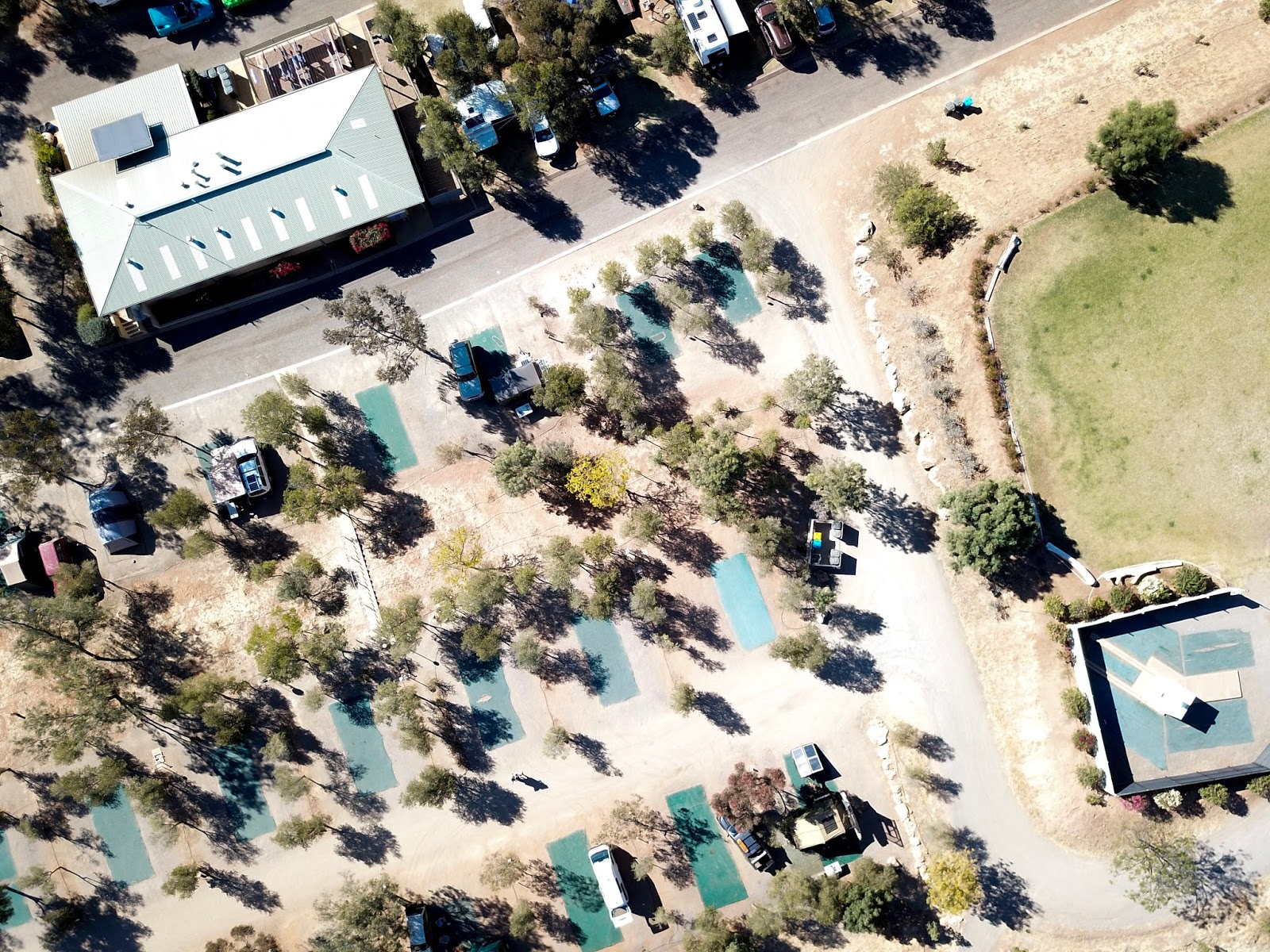 aerial shot of a caravan park in alice springs