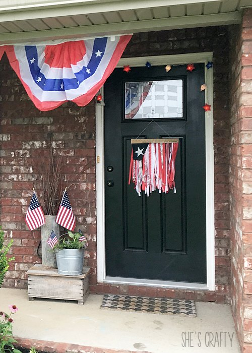 flag buntings, flags, star lights, red white and blue