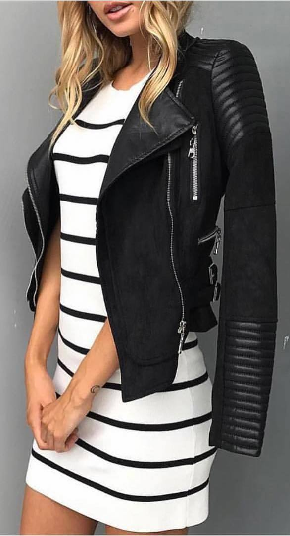 black and white fashion trends / biker jacket + dress