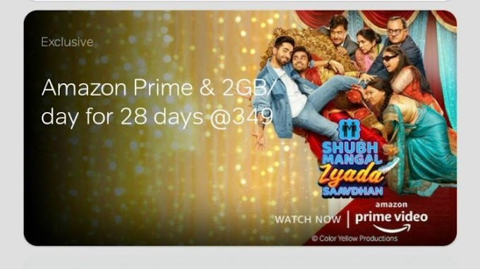 Free Amazon Prime & 2 GB Daily Data Unlimited Calls With Airtel 349 Plan