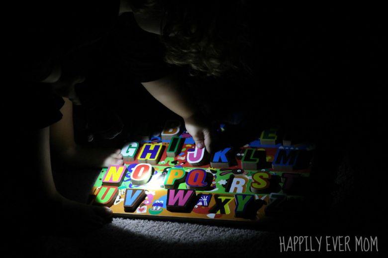 flashlight alphabet scavenger hunt for kids