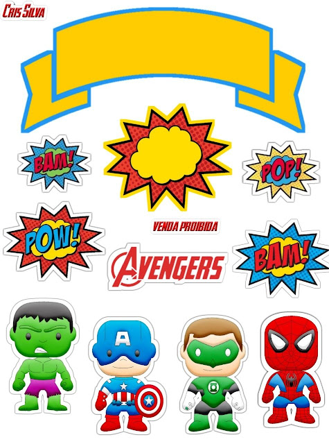 Chibi Babies Superheroes: Free Printable Cake Toppers