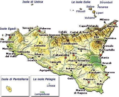 Regione Sicilia Cartina Politica.Mappa Della Citta Di Provincia Regionale Italia Cartina Politica Della Sicilia