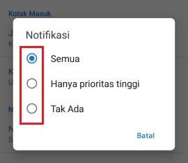 opsi notifikasi dari Gmail