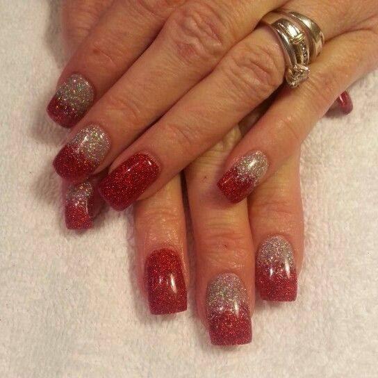 Drawn Nail White 6 Red And Silver Acrylic Nails