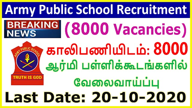 Army Public School Recruitment 2020 for Teachers (8000 Vacancies)