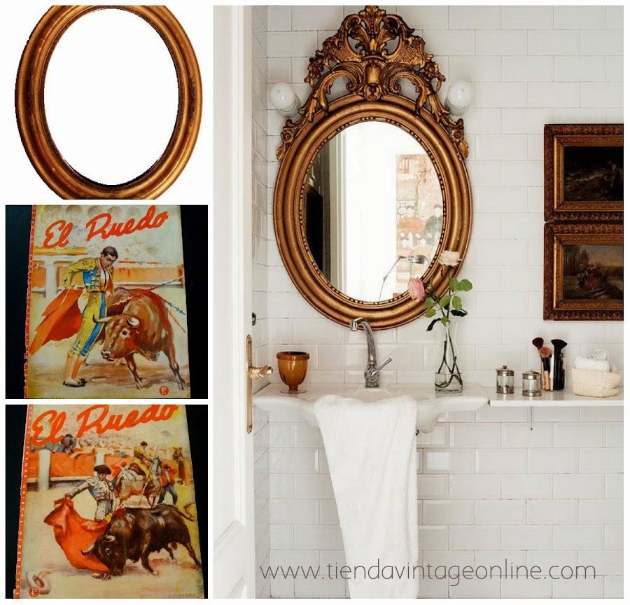 Baño blanco con espejo dorado vintage decoracion
