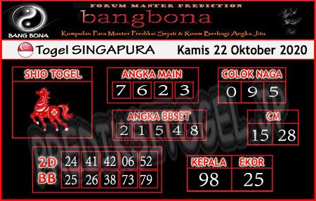 Prediksi Bangbona SGP Kamis 22 Oktober 2020