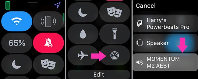 اختيار جهاز صوت على Apple Watch