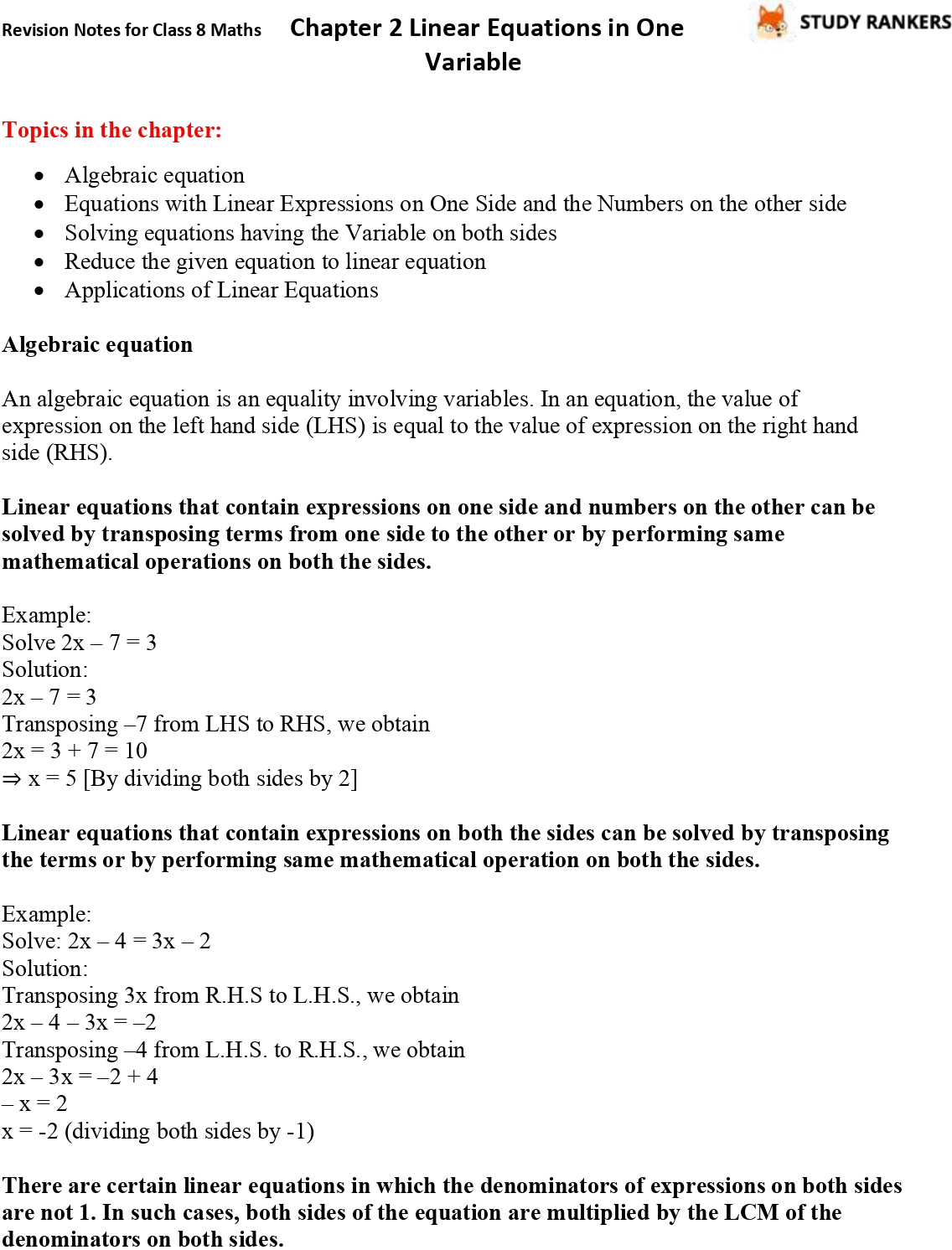 CBSE Revision Notes for Class 8 Chapter 2 Linear Equations in One Variable Part 1