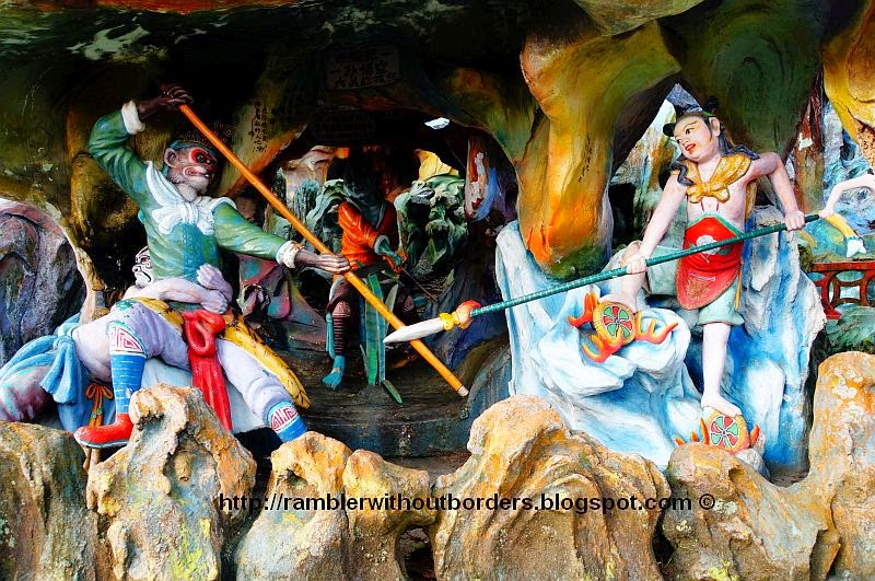 A scene from Journey to the West of Sun Wukong fighting Red Boy, Haw Par Villa, Singapore