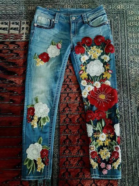 Casual Plus Size Vintage Denim Pants low rise jeans