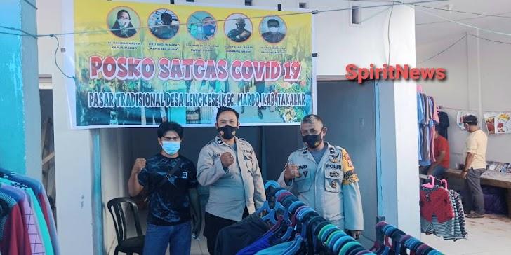 Personil Polsek Marbo Siaga Penuh Di pos Covid-19 Di Lokasi Pasar Lengkese