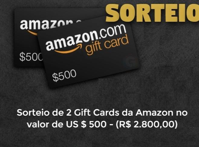 Sorteio de 2 Gift Cards da Amazon de US $ 500 Dólares