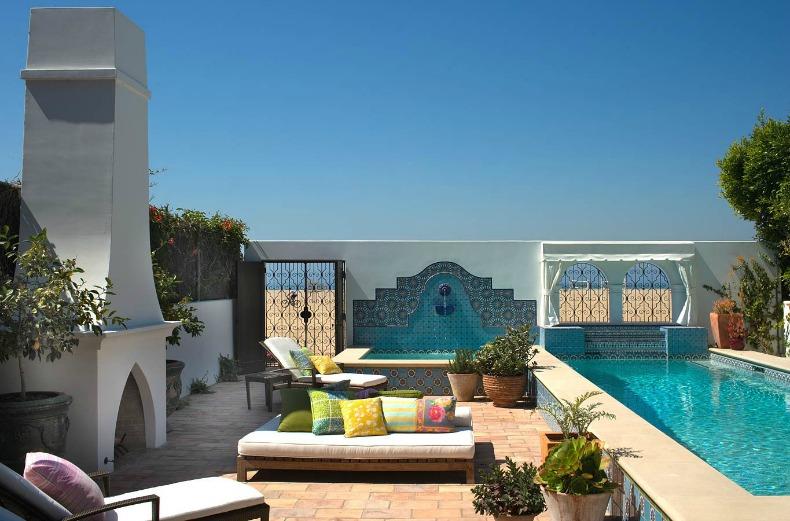 Tropical coastal colorful sun lounge with aqua blue views