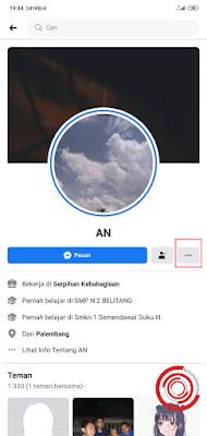 1. Silakan kalian buka profil Facebook yang ingin di cek sejak kapan kalian berteman dengan akun tersebut. Jika sudah pilih Pilihan