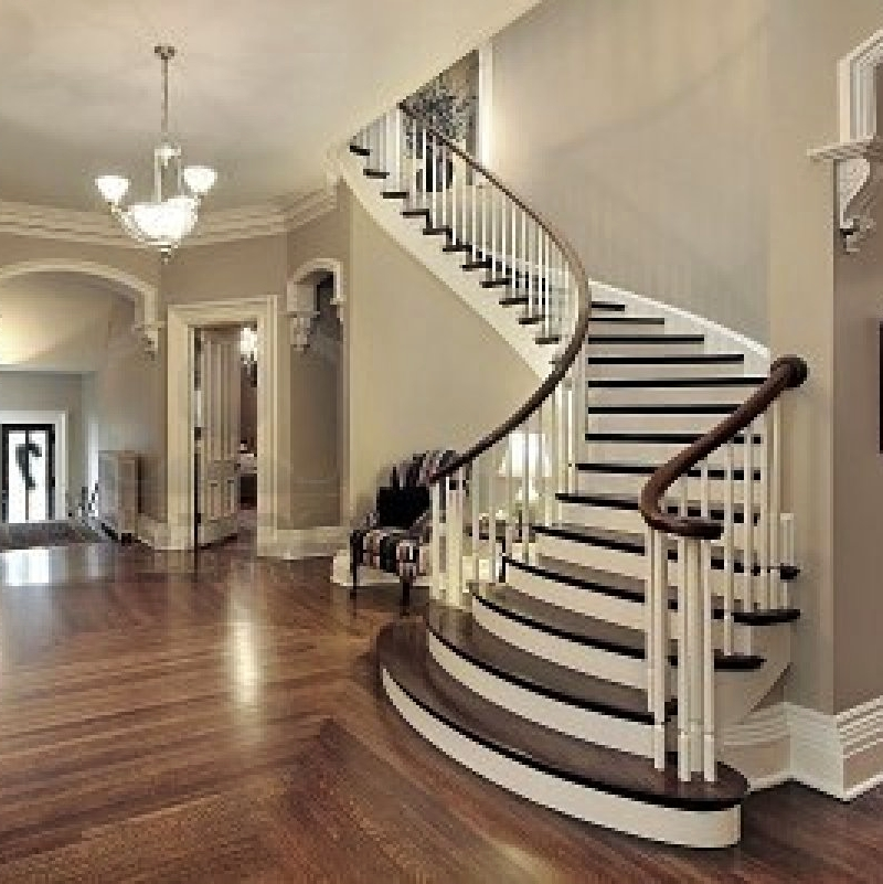House Design And Architecture Traditional White And Dark Wood | Dark Wood Stairs With White Risers | Wall | Beautiful Wood | Wooden | Modern | Floor