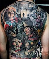 tatuaje para halloween de terror en la espalda