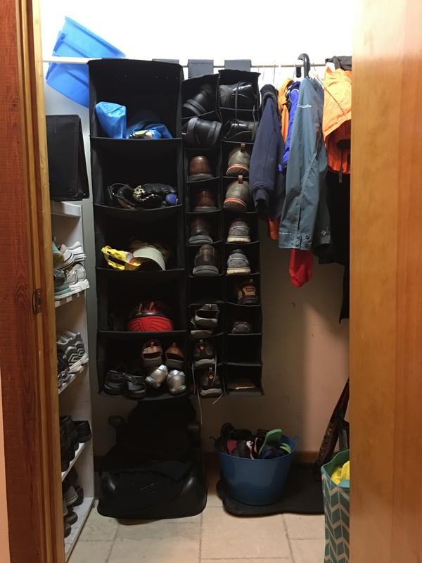 Coat Closet Mudroom Organization Makeover   $100 Room Challenge   Before