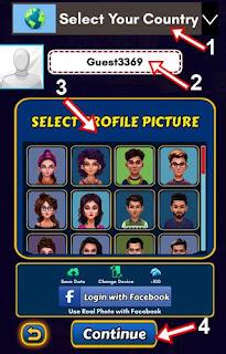 Country name profile pic set kar continue par click kare