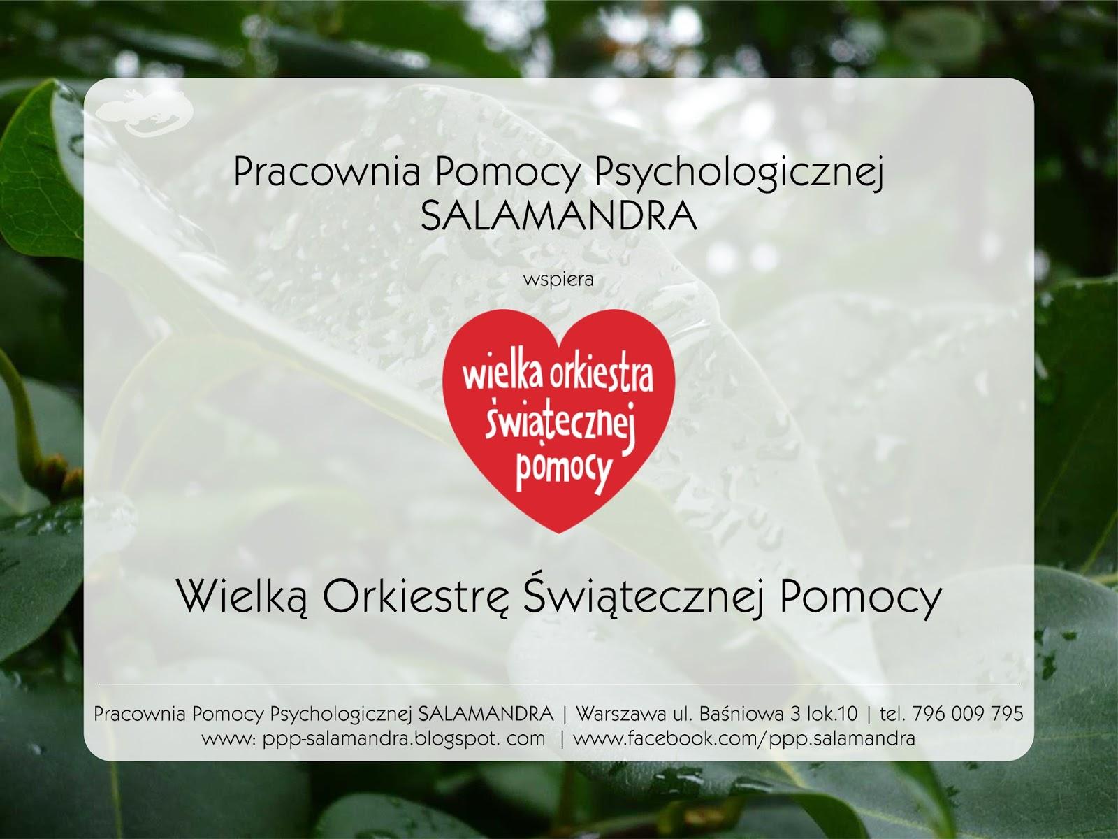 Pracownia Pomocy Psychologicznej SALAMANDRA wspiera Wielką Orkiestrę Świątecznej Pomocy