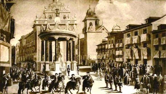Antigua Puerta del Sol, con la fachada de la desaparecida iglesia del Buen Suceso con adornos arquitectónicos delante, comitiva a caballo y soldados en formación.