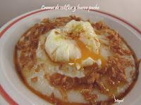 Crema de coliflor y huevo poche