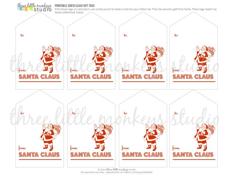 free santa letterhead and santa gift tags three little monkeys studio