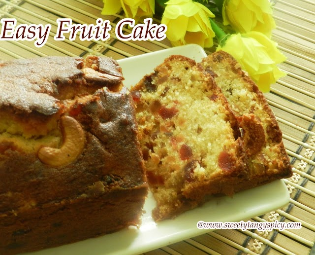 Easy Light Fruit Cake / Vanilla Fruit Cake
