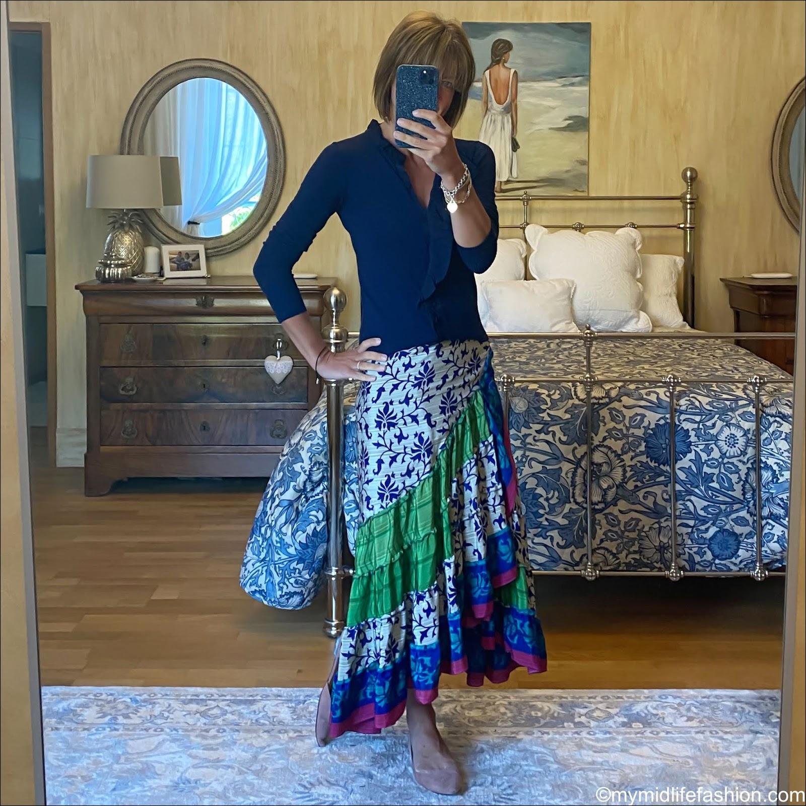 my midlife fashion, j crew ruffle cardigan, Forage Somerset sari wrap skirt, h and m ballet flats